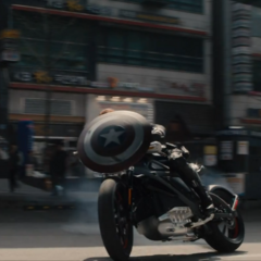 Cap's shield on the front of Widow's bike in <i>Age of Ultron</i>