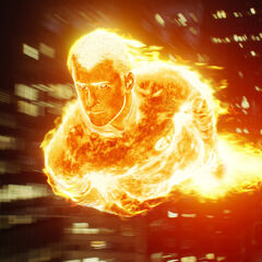 The Human Torch flying through the city.