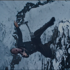 Bucky plummets into the frozen river.