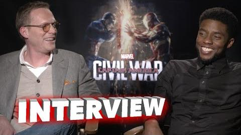"Captain America Civil War Paul Bettany ""Vision"" & Chadwick Boseman ""Black Panther"" Movie Interview"