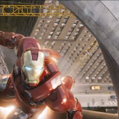 Iron Man flying.
