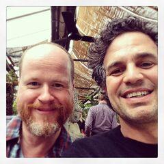 Mark Ruffalo and director/writer Joss Whedon on Set.