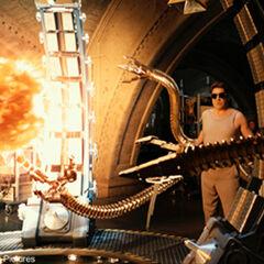 Octavius utilizing his arms in his experiment.
