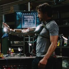 Tony using his repulsor for the first time.