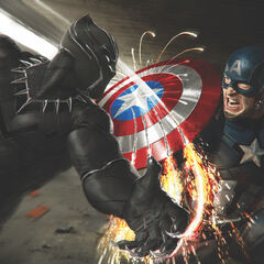 Black Panther's Vibranium claws hitting Cap's shield.