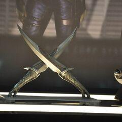 Drax's daggers on display at San Diego Comic Con 2013.