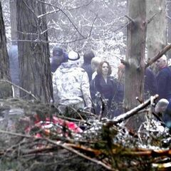 Black Widow stand-in filming scenes in the Hampshire Woods in England