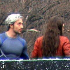 Aaron Taylor-Johnson and Elizabeth Olsen on set in Italy