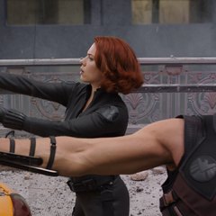 Romanoff fighting beside Clint