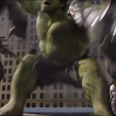 Hulk attacks two Chitauri.