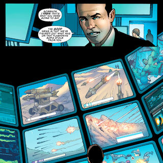 Coulson overseeign SHIELD screens