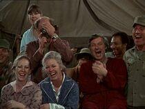 Crowd outside nurse tent-bottoms up