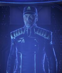 Hackett ponerse en contacto con Shepard a través de QEC