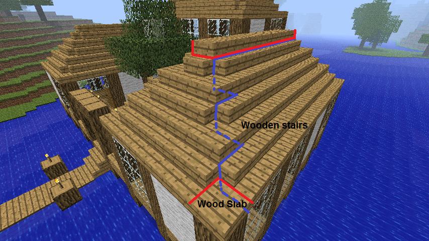 File:Roof on Minecraft Cobblestone House Designs