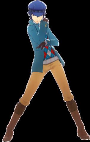 File:P4D Naoto Shirogane Midwinter Outfit change free DLC.png