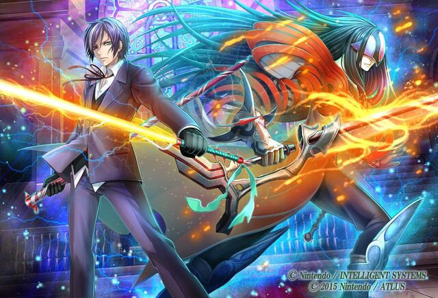 File:Yashiro Tsurugi and Nabarl illustration by 田口美穂 for Fire Emblem Cipher Series 4.jpg