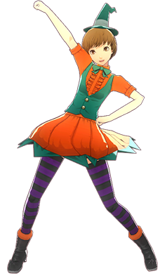 File:P4D Chie Satonaka halloween outfit change.PNG