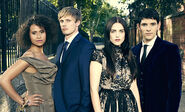 Angel Coulby Bradley James Katie McGrath and Colin Morgan