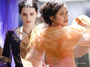 Morgana Katie McGrath and Gwen Angel Coulby
