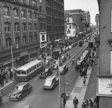 DOWNTOWN BPT. LOOKING NORTH ON MAIN ST. - LATE 1930s 0R EARLY 1940s