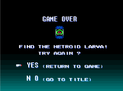 File:Super Metroid ~ Game Over Continue screen.png