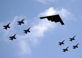 Valiant Shield - B2 Stealth bomber from Missouri leads ariel formation