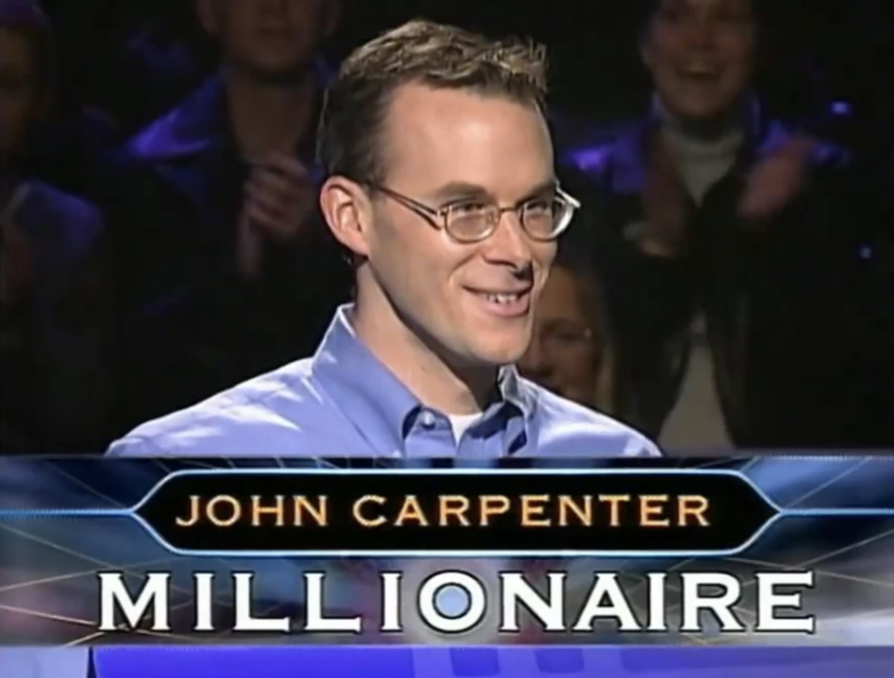 Image result for john carpenter wins who wants to be a millionaire