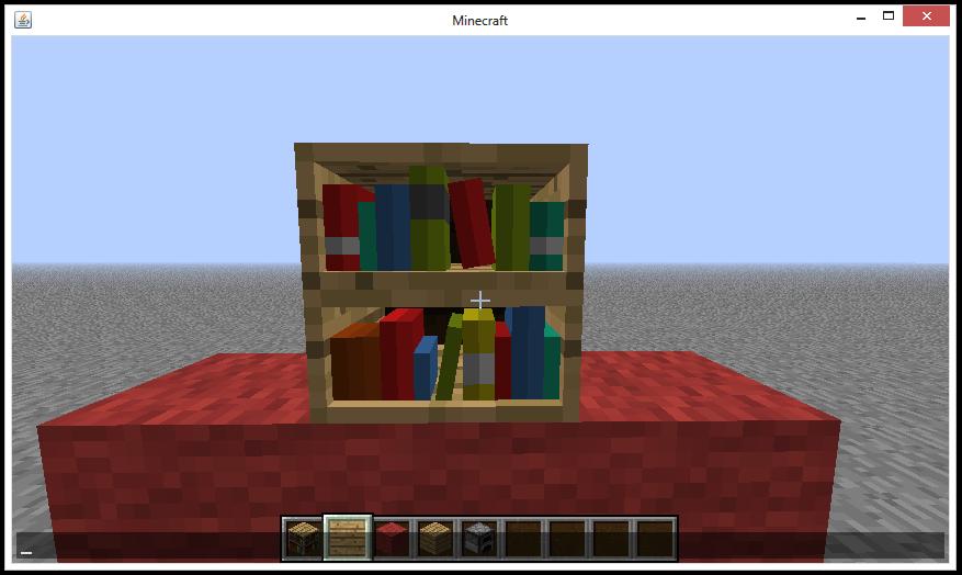 how to create a bookshelf in minecraft
