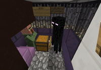 A villager looking at an Enderman