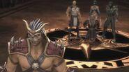 Baraka, Kitana and Reptile bring Shang Tsung to Shao Kahn