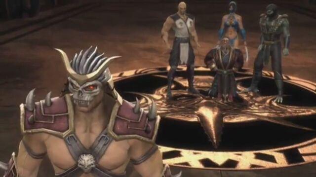 File:Baraka, Kitana and Reptile bring Shang Tsung to Shao Kahn.JPG