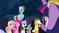 Ponies smiling at Twilight S4E02