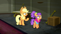 Applejack confused by Plaid Stripes' idea S6E9