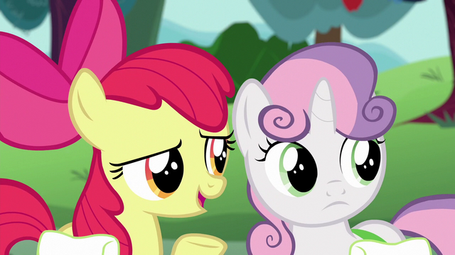 "File:Apple Bloom ""Scoot and Rainbow Dash'll take that award"" S6E14.png"