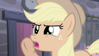 "Applejack quietly says ""cutie marks"" S5E02"
