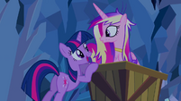 Twilight and Cadance mine cart S2E26