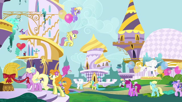 File:Ponies preparing for the Summer Sun Celebration S4E01.png