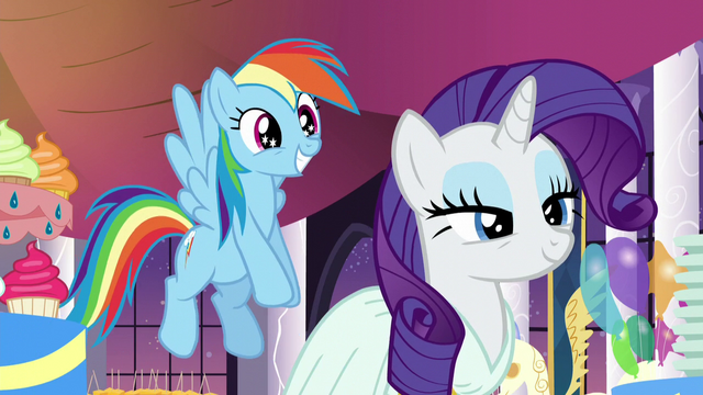 File:Rarity smiling; Rainbow smiling with stars in her eyes S5E15.png