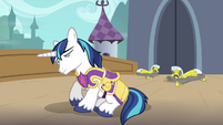 Shining Armor and the guards waking up S4E26