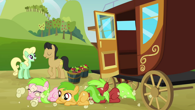 File:Three fillies come out from the carriage S3E08.png