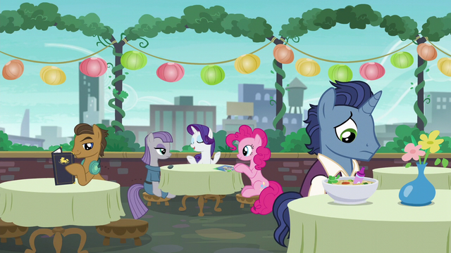File:Maud, Rarity, and Pinkie at the dining table; stallion looking sad S6E3.png