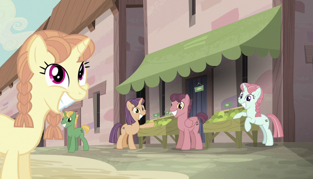 File:Village ponies watching the Mane Six S5E1.png