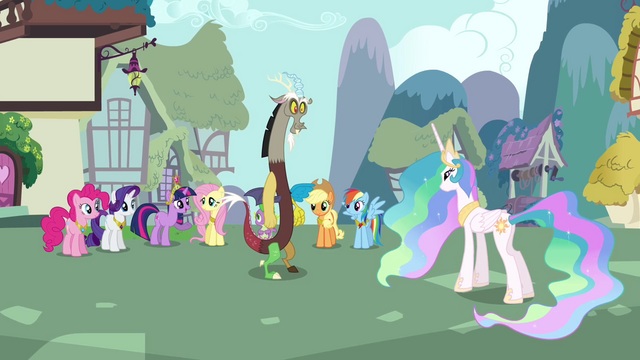 File:Main cast, Celestia, and Discord group shot S03E10.png