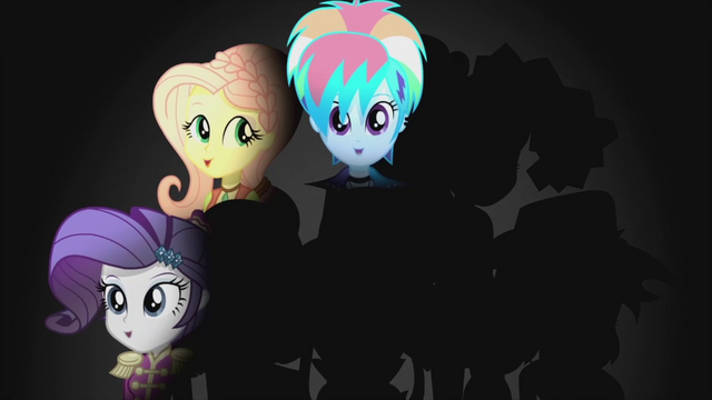 File:Rarity, Fluttershy, and Dash on darkened background EG2.png