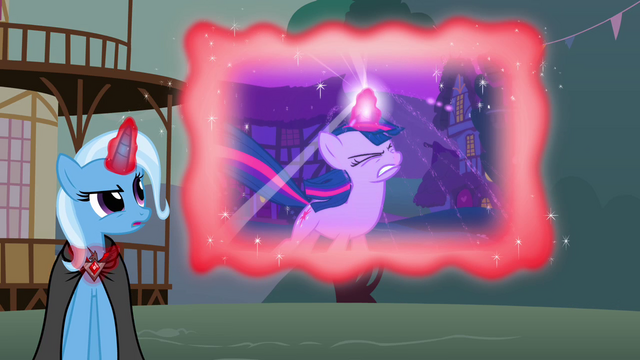 File:Trixie showing a flashback of Twilight using her magic to defeat an Ursa Minor S3E05.png