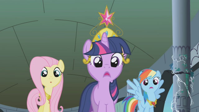 File:Twilight, Fluttershy, and Rainbow Dash shocked S1E2.png
