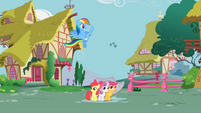 Rainbow Dash kicking cloud away S2E23