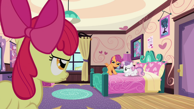 File:Scootaloo puts hooves on bed S3E4.png