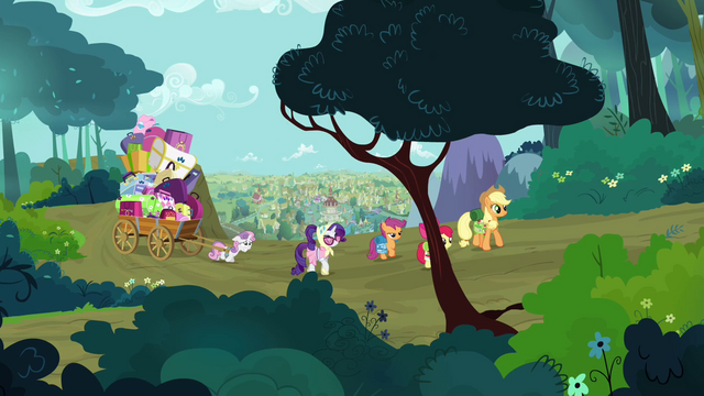 File:Applejack, Rarity and the CMC walking S3E06.png
