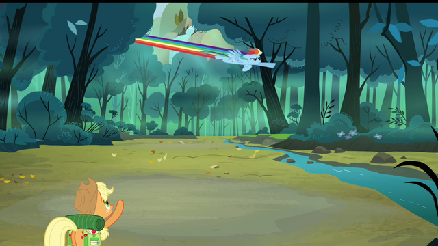 File:Applejack pointing at Rainbow flying S3E06.png